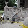 restoration work on Shaw Memorial
