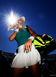 Eugenie Bouchard of Canada leaves the court after her victory over Annika Beck of Germany on day 2 of the Connecticut Open at the Connecticut Tennis Center at Yale on August 22, 2016 in New Haven, Connecticut.