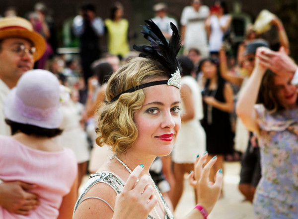 Amanda Healy dances at the Jazz Age Lawn Party on Aug. 16, 2014 on Governors Island in New York City.
