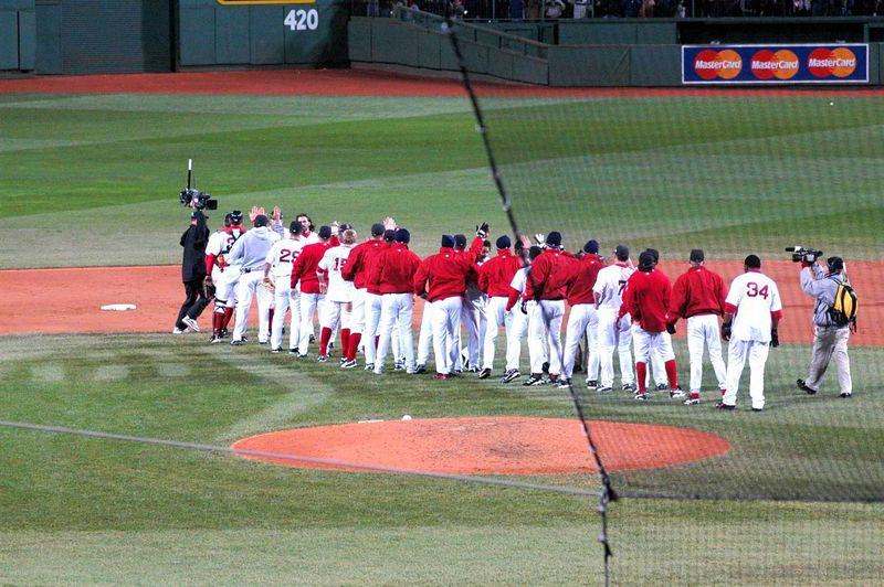 The Sox celebrate winning game one of the 2004 World Series.
