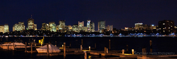 Boston at Night; view from Memorial Drive, Cambridge.  Print Size: 4 x 12""