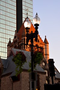 Trinity Church siunset in  Copley Square