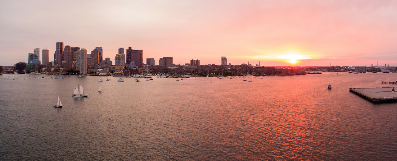 Aerial image of a beautiful sunset over Boston