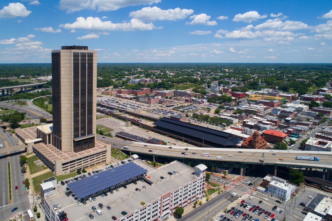 Aerial video Downtown Richmond Viginia