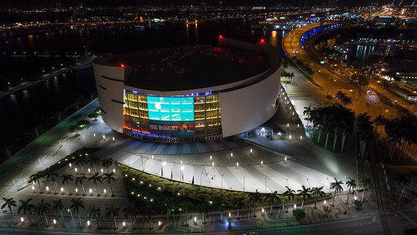 Aerial image of the American Airlines Arena Downtown Miami