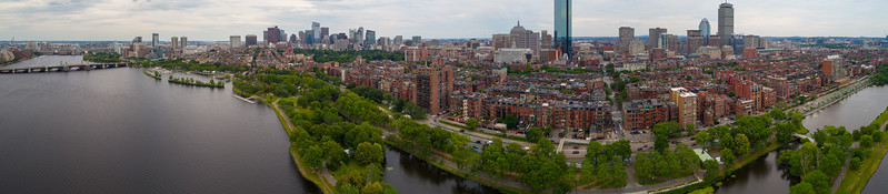 Aerial panorama Beacon Hill Boston