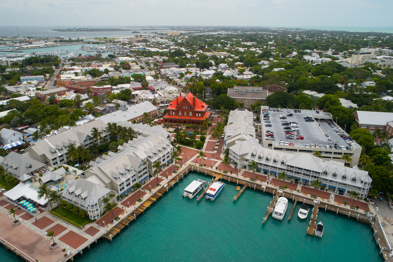 Aerial image of Key west Mallory Square and resorts
