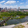 Aerial panoramic image Downtown Richmond Virginia and James River
