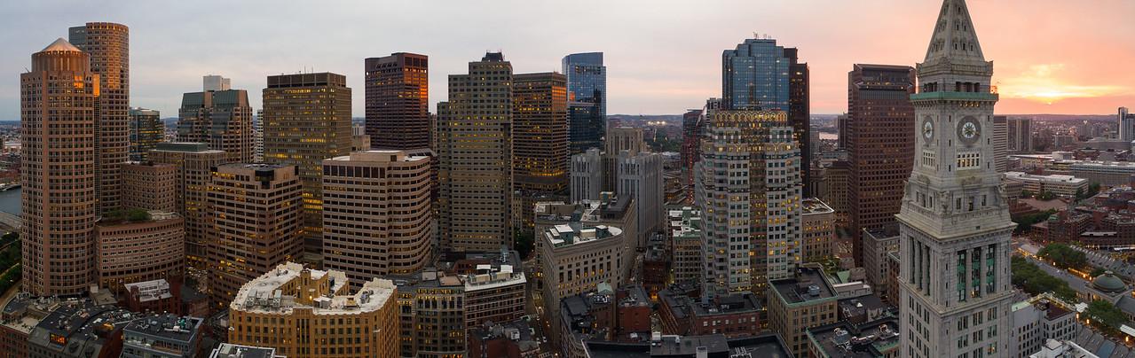 Aerial panorama Boston clock tower