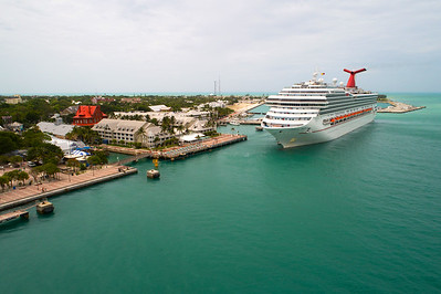 Aerial image of Carnival Freedom at Key West