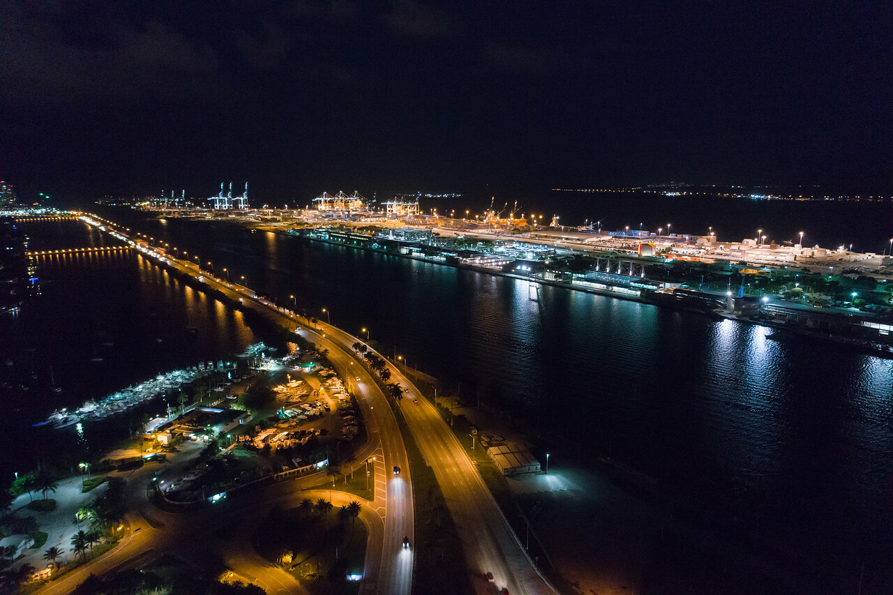Aerial night image Port Miami
