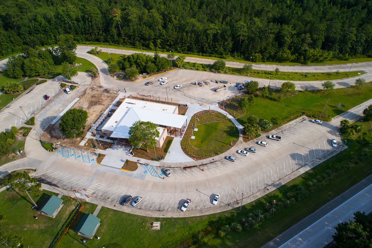 Aerial image rest area truck stop