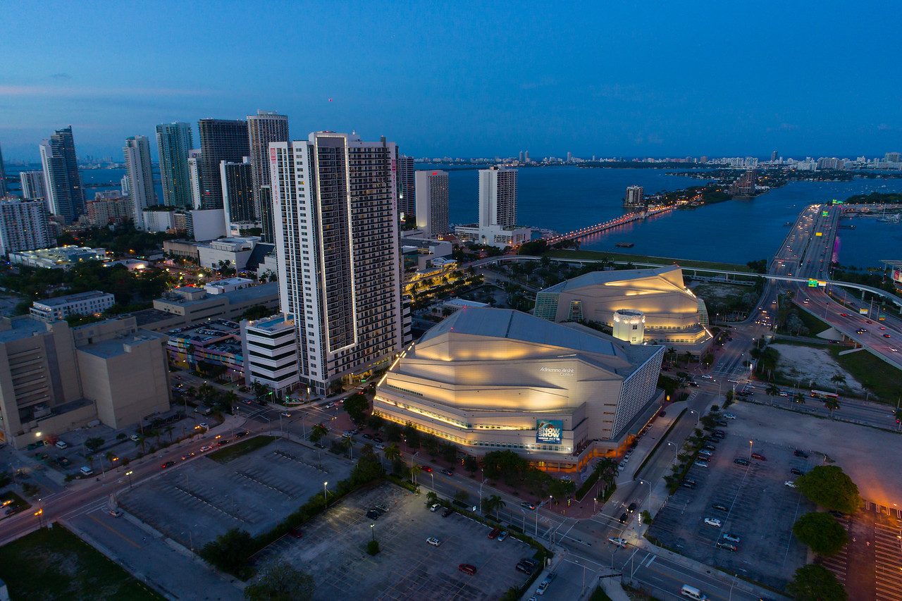 Aerial image of the Adrienne Arsht Center for the performing arts Miami