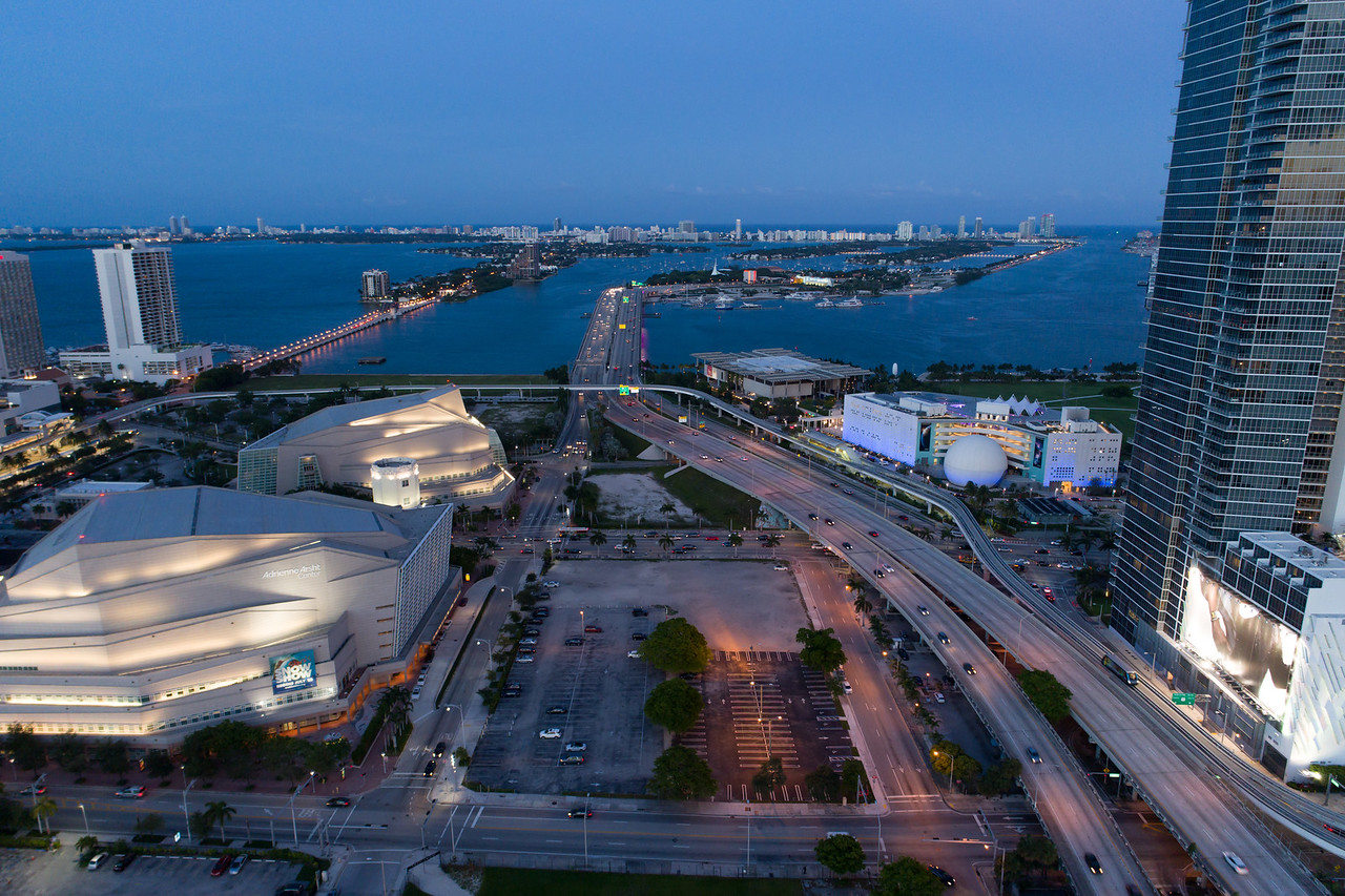 Aerial image Macarthur Causeway Downtown Miami