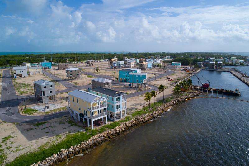 Homes on stilts under construction in the Florida Keys