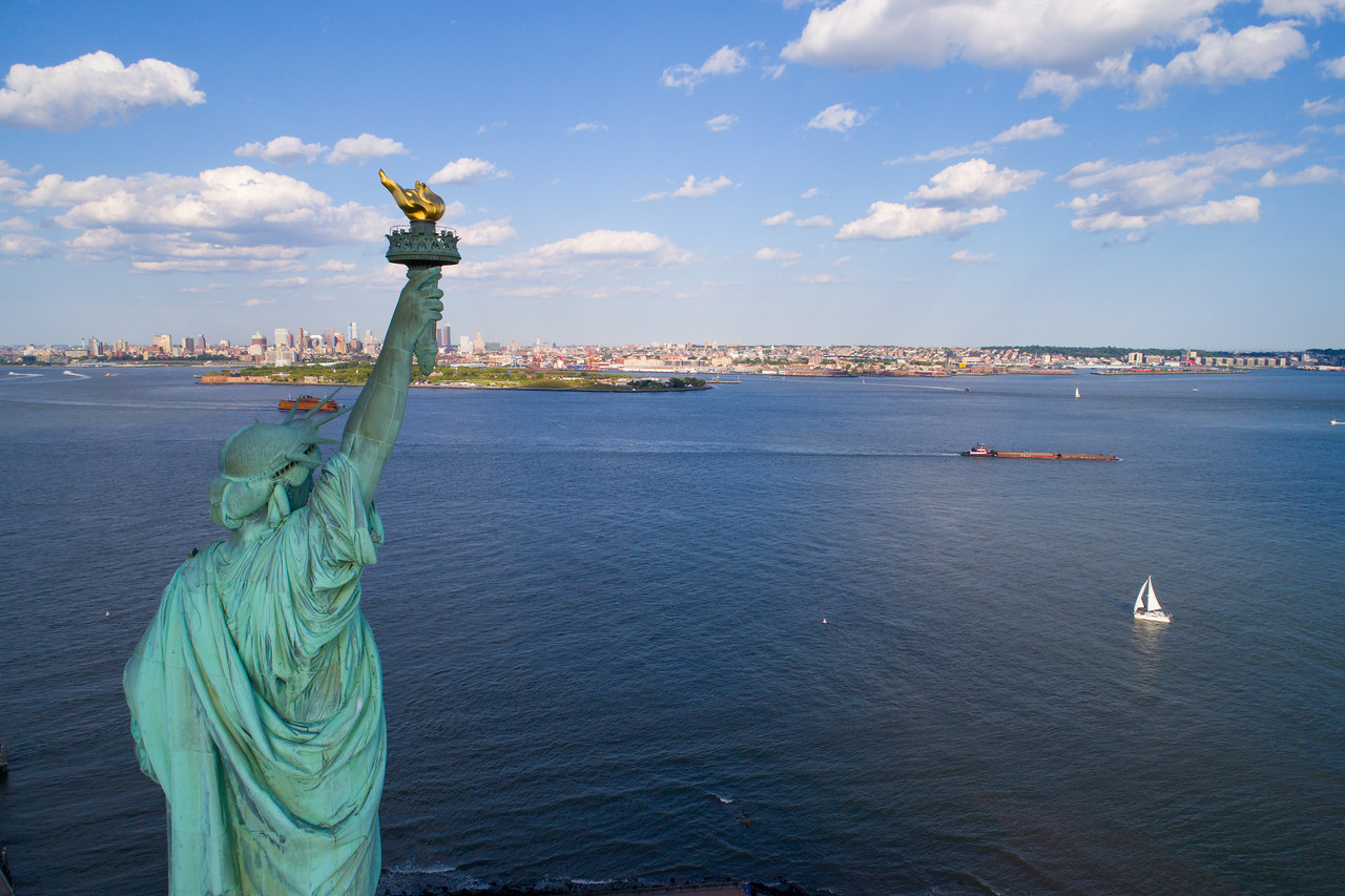 Aerial image of the Statue of LIberty