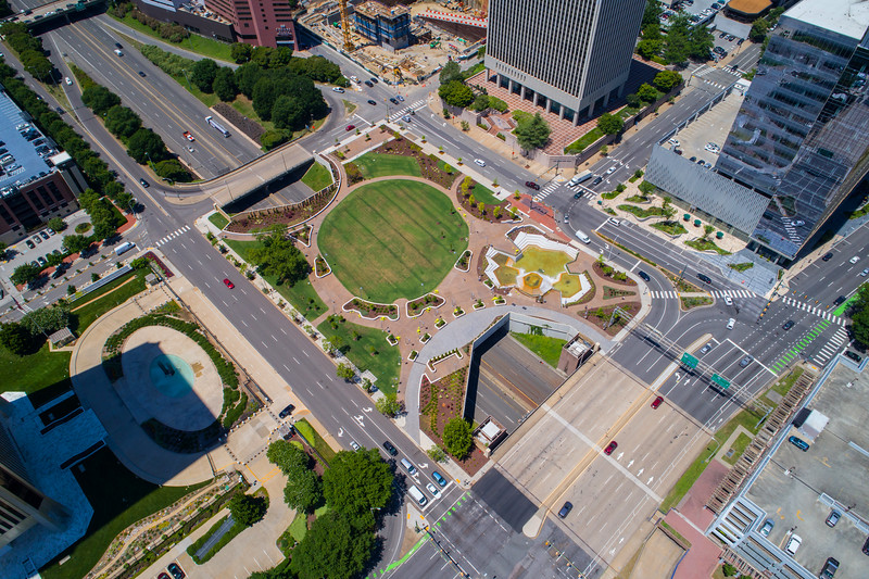 Aerial image of Kanawha Plaza Downtown Richmond VA