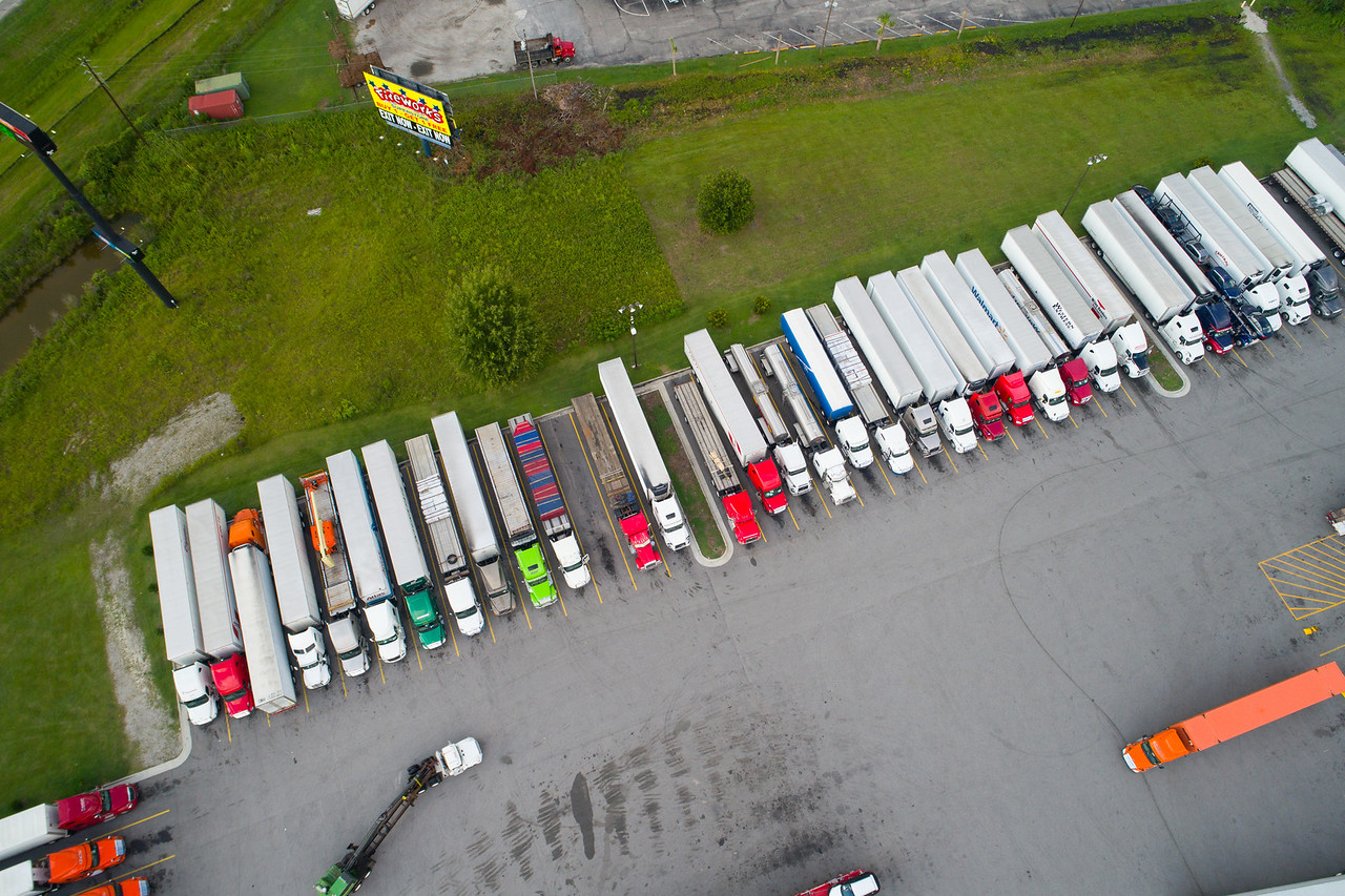 Aerial image of trucks at a fuel stop