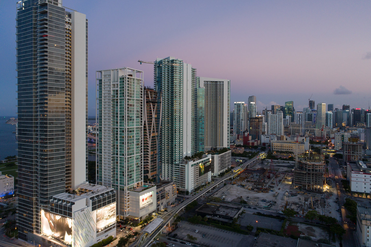 Aerial downtown Miami blue hour