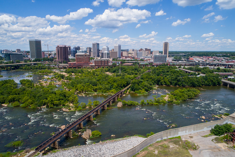 Aerial image Downtown Richmond Virginia and James River