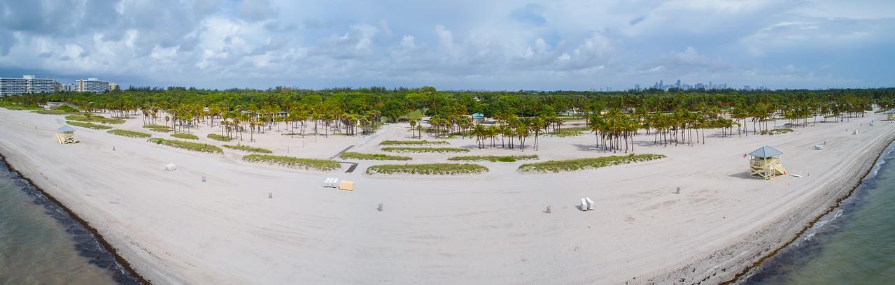 Aerial image Crandon Park Key Biscayne Miami Florida talm trees sand and shore