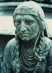 Closeup of Indian Squaw on Robbins Memorial by Cyrus Dallin