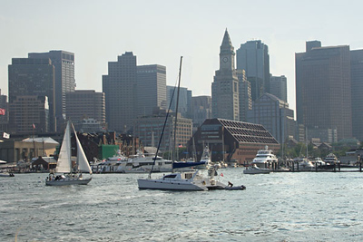 View leaving Boston Harbor for Spectacle Island on the Harbor Island Express