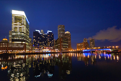 Boston from Children's Wharf at night