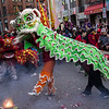 green dragon scared by firecrackers