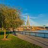 Charlestown Park view of railroad and Zakim bridges