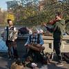 hurdy-gurdy man with accordionist fiddler & dog