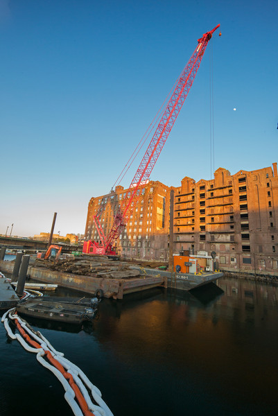 barge & crane set to demolish Lovejoy Wharf