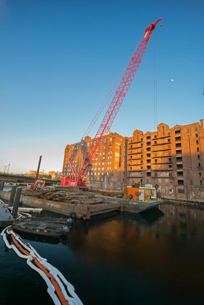 barge & crane set to demolish Lovejoy Wharf