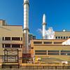 smokestacks & jogger Kendall Cogeneration Station