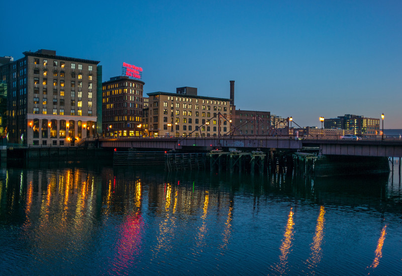 Fort Point Channel & Summer St  Bridge dusk