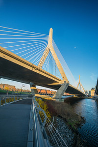 view from North Point Bridge of Zakim Bridge