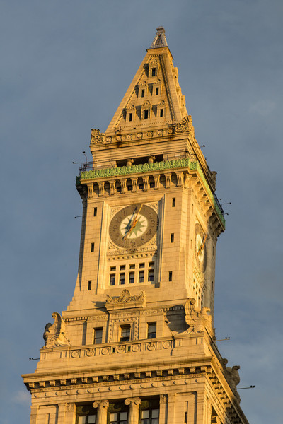 golden light Customs House tower