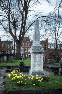 obelisk with daffodils Copp's Hll Burying Ground
