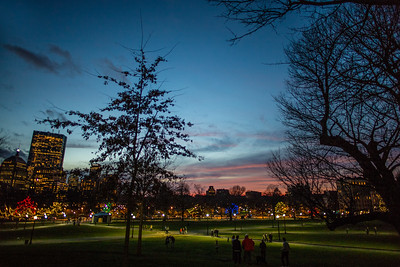 Christmas eve lights Boston Common