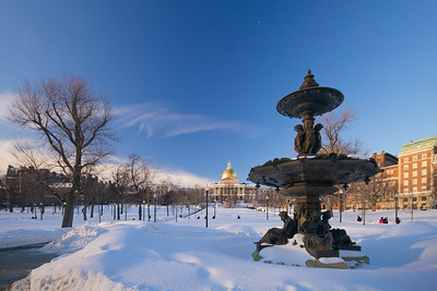 Brewer Fountain in February w State House