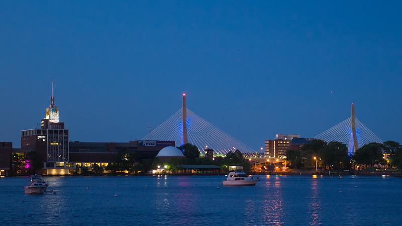 Museum of Science & Bunker Hill Bridge from Longfellow Bridge twilight