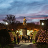 approaching George Washington from behind Public Garden Xmas Eve