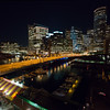 Barking Crab Moakley & Northern Ave Bridges at night from Seaport bldg roof