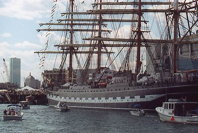 "The Kruzenshtern, St. Petersburg. Russia. Length: 376' Beam: 46'1"" Draft: Steel Rig: Four-masted barque built in 1926, the second largest ship in the world."