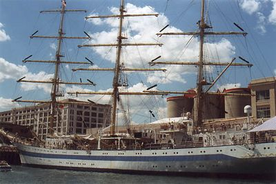 The Mir, St. Petersburg, Russia. Fastest training ship in the world, yearly winner of the Cutty Sark Tall Ships Races. Built in Poland in 1988.  Length 328 feet.