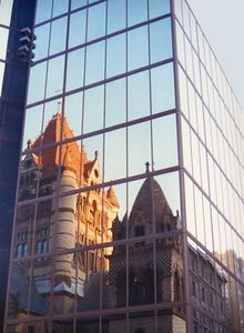 Reflection of Trinity Church on John Hancock Tower