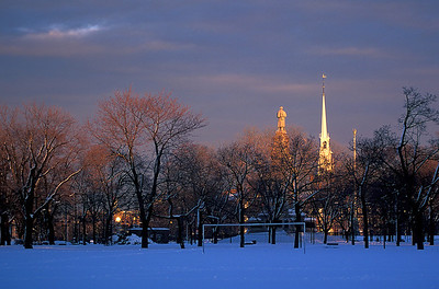 winter sunset Cambridge Common