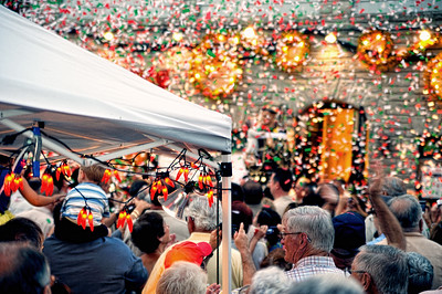 Following the priests blessing the confetti started to fly.