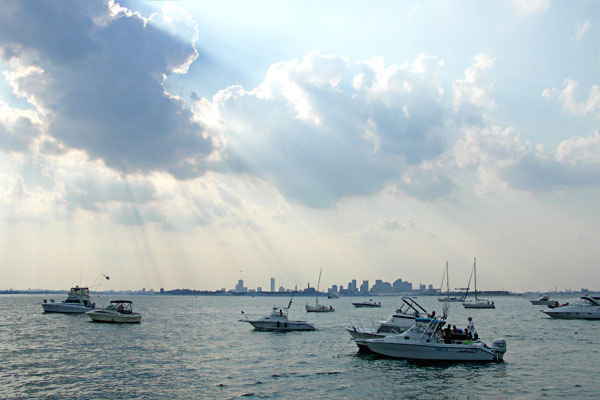 View leaving Spectacle Island at 5:45