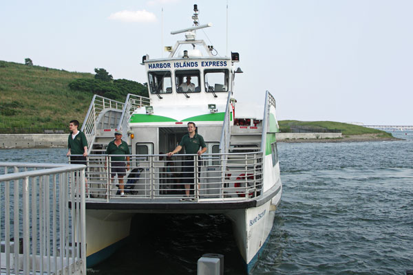 Our boat to and from Spectacle Island